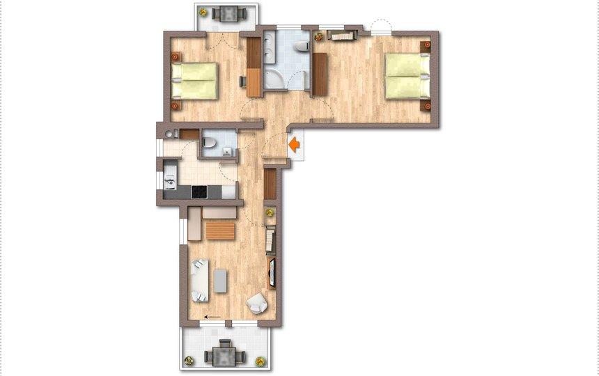 Floor plan Apt. type 2 - Landhaus Casper ©Kalle's Appartements