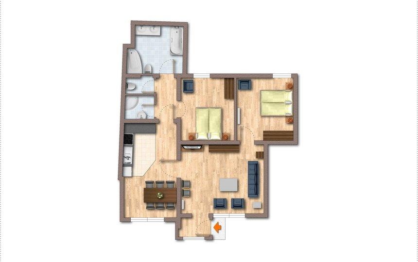 Grundriss Kalle's Familienappartement Typ 2 ©Kalle's Appartements