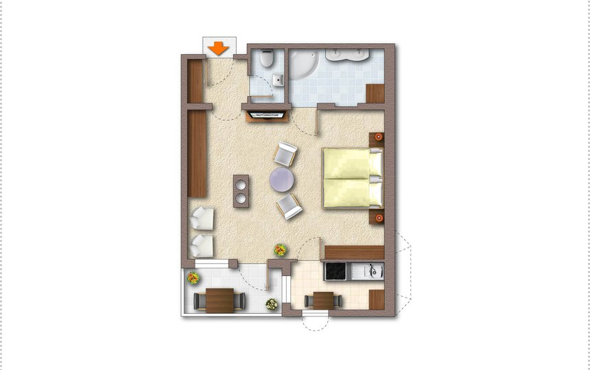 Floor plan Apt. type 1 - Landhaus Casper ©Kalle's Appartements