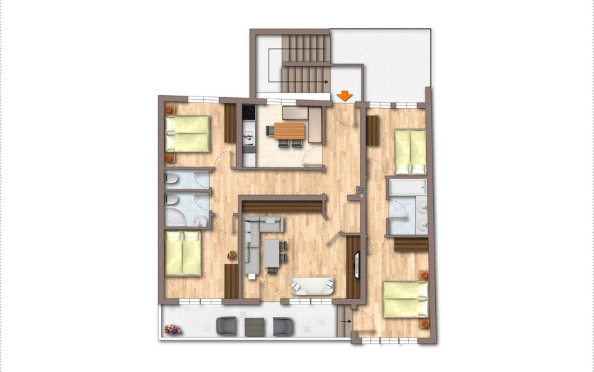 Grundriss Kalle's Familienappartement Typ 1 ©Kalle's Appartements